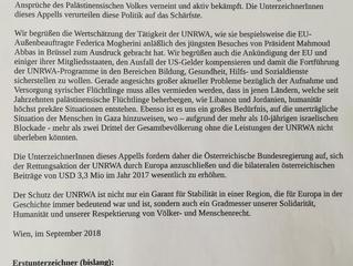 Appell an die Österreichische Bundesregierung: Erhöhung von UNRWA-Beiträgen