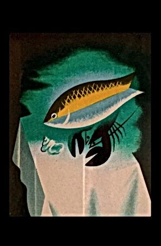 リトグラフで魚とオマール海老と巻き貝が白いテーブルクロスの上に置かれたカッサンドラ作