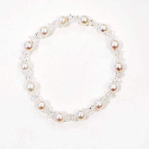 あこや真珠と水晶のブレスレット