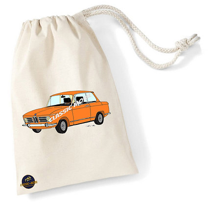 BMW 2002 orange  / Sac pochon coton bio