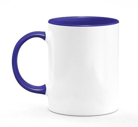 Dessin du Garage / mug bicolore bleu marine