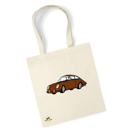Porsche 911 marron / Tote Bag coton bio