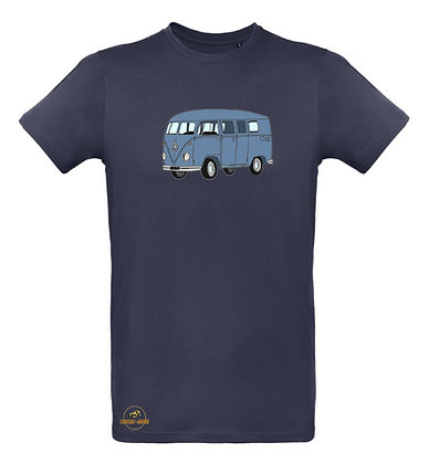 Volkswagen Combi Split bleu indus / T-shirt Homme coton BIO