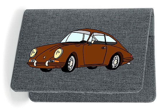 Porsche 911 marron / Etui Carte Grise - Passeport