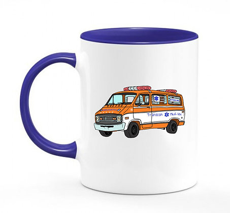 Dodge ambulance Cannonball Run / mug bicolore bleu marine