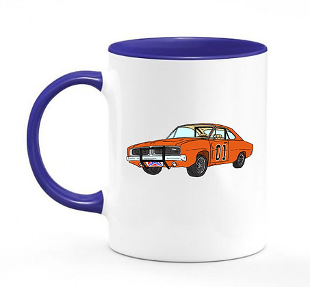 Dodge Charger - Dukes of Hazzard / mug bicolore bleu marine