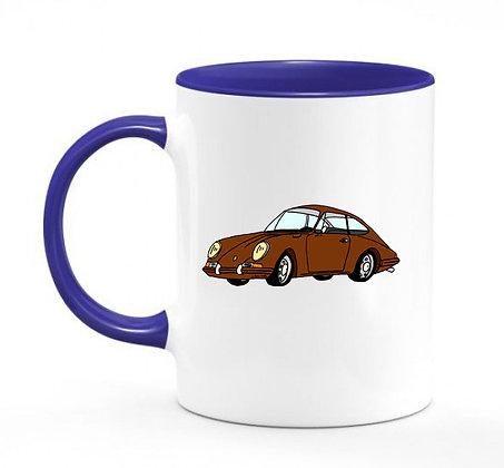 Porsche 911 marron / mug bicolore bleu marine