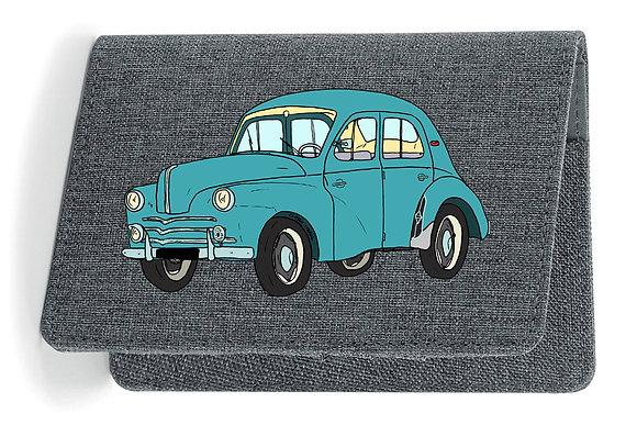 Renault 4 CV verte / Etui Carte Grise - Passeport