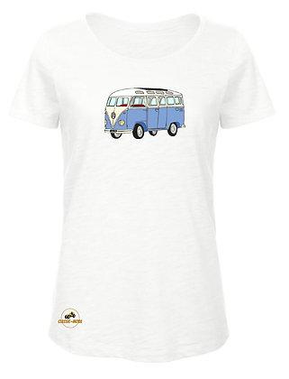 Volkswagen Combi Split bleu / T-Shirt Femme coton BIO