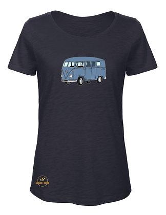 Volkswagen Combi Split bleu indus / T-Shirt Femme coton BIO