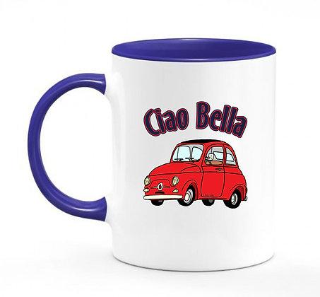 Fiat 500 Classic - Ciao Bella / mug bicolore bleu marine