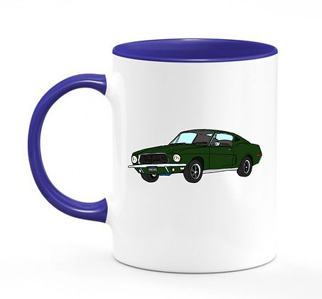 Ford Mustang Bullitt / mug bicolore bleu marine