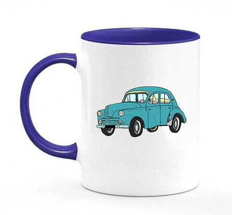 Renault 4 CV verte / mug bicolore bleu marine