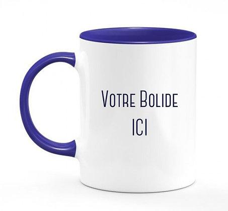 Votre bolide / mug bicolore bleu marine
