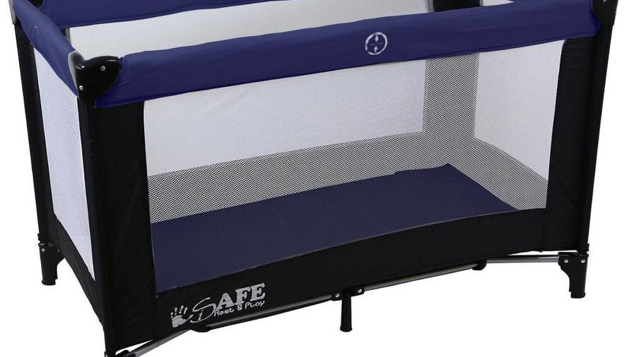 iSafe Rest & Play Luxury Travel Cot/Playpen - Navy (Black/Navy)