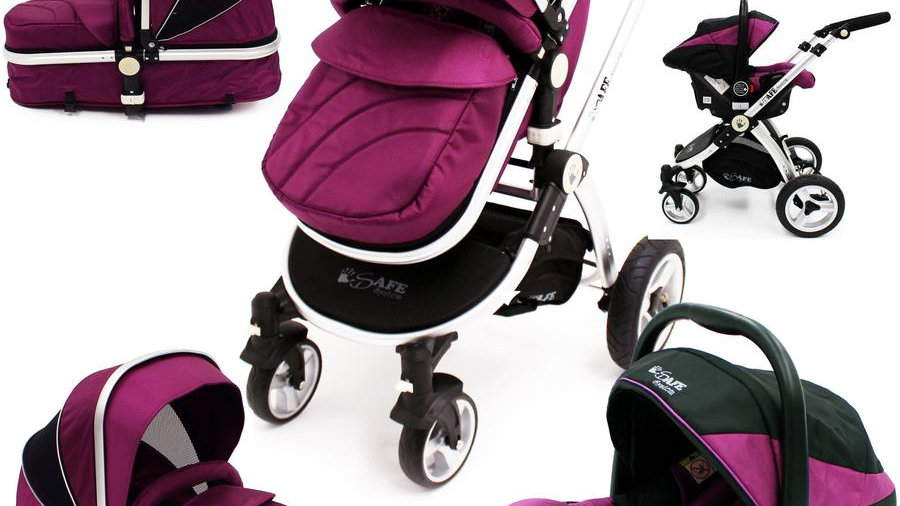 3 in 1 iSafe Pram System - Plum + Carseat