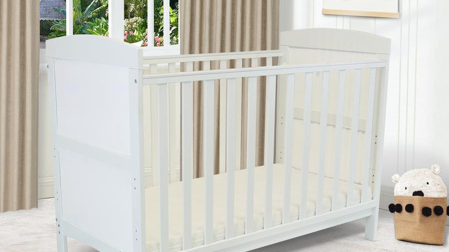 iSafe Baby Cot Bed Toddler Bed - iSafe Baby Cot Arnie (White Including Mattress)