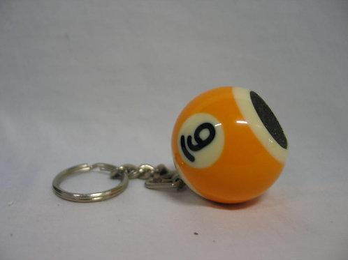 Sleutelhanger billiardbal met slijper in geel en zwart