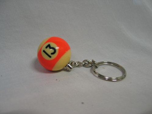 Sleutelhanger billiardbal in oranje en donkerrood