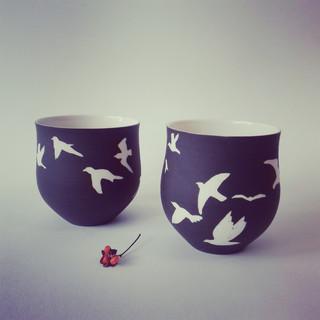 Bols ronds porcelaine OISEAUX Noir