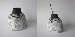 """Vase """"Buste"""" Grès Noir"""