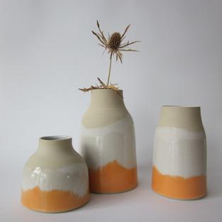 "Vases Grès blanc ""Orange"""