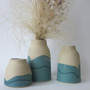 "Vases Grès Blanc "" Bleu"""