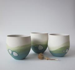 "bols ronds grès blanc ""paysage"""