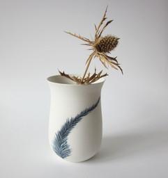 "Vase ""Plume cobalt"""