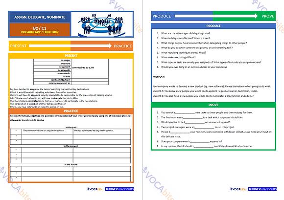 HANDOUT - B2 - Assigning, Delegating, Nominating