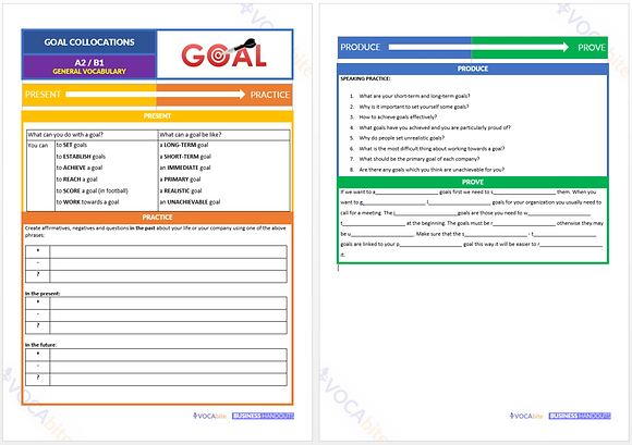 HANDOUT - A2 - Goal collocations