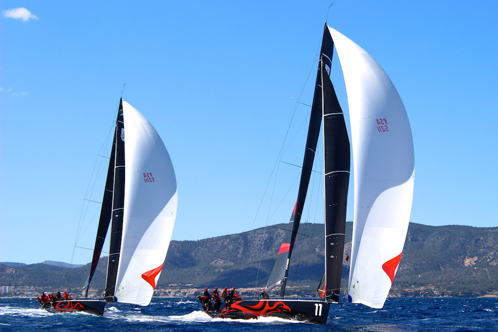 TP52's Team Phoenix two boat testing prior to PalmaVela this year