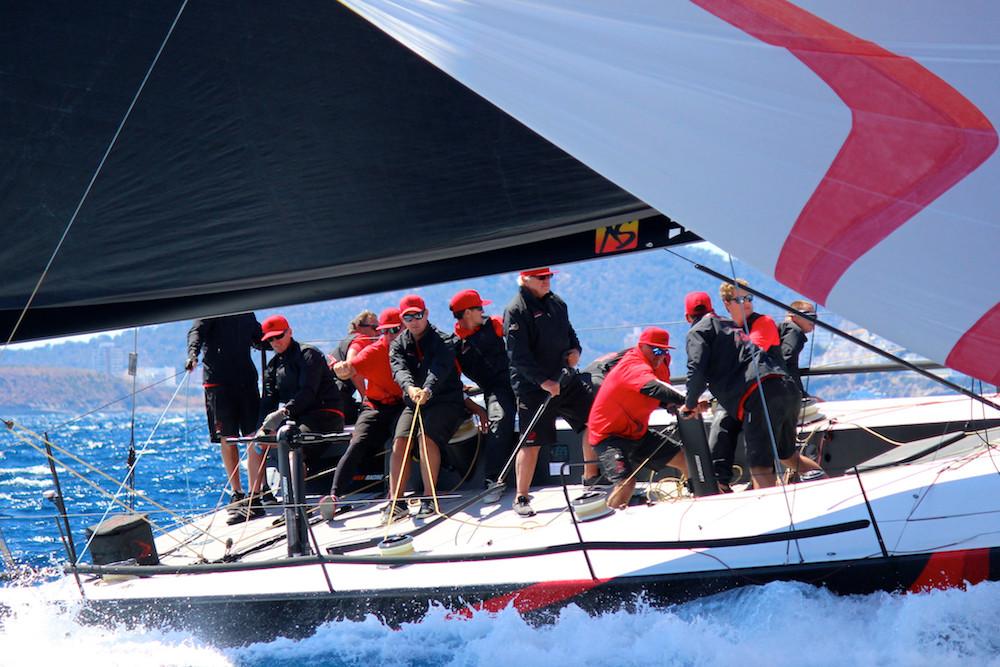 TP52 Team Phoenix heading downwind during PalmaVela