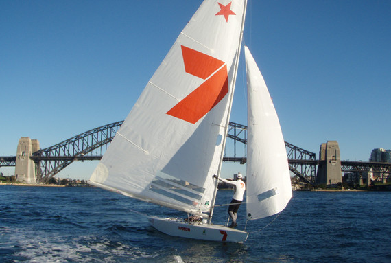Andrew Dog Palfrey racing the Star in Sydney Harbour