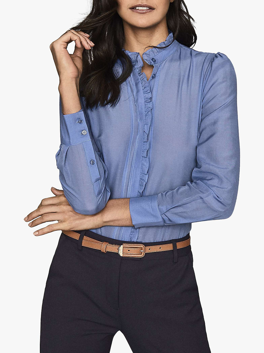 Reiss floral collarless blouse