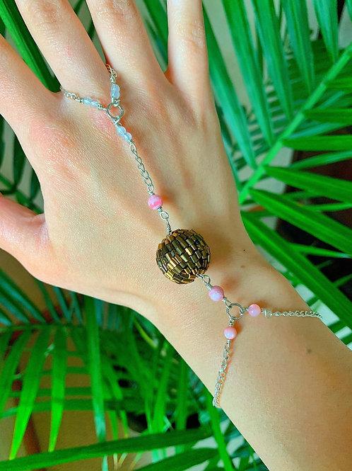 Pink Tri-gem Glitter Hand Chain