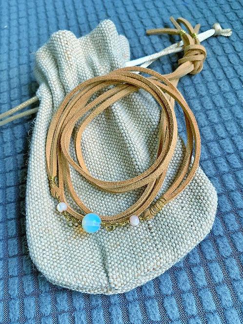 Moonstone & Pearl Suede Necklace