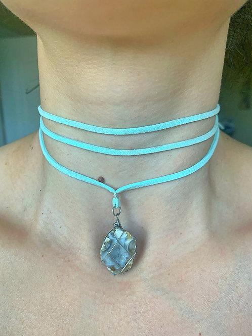 Sea geode vegan suede necklace wrap