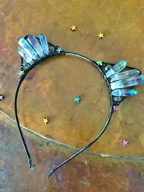 Celestial Space Kitten Quartz Cat Ears Headband