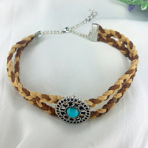 Turquoise braided choker necklace