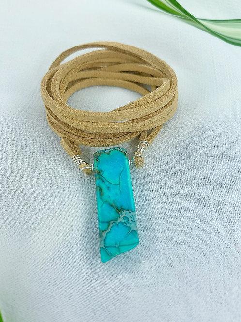 Ocean Beach Jasper Suede Necklace Wrap