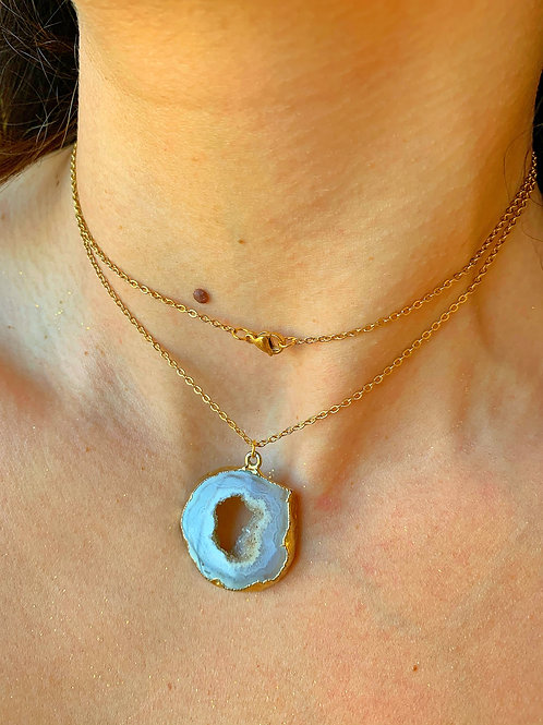Agate Geode Slice Necklace