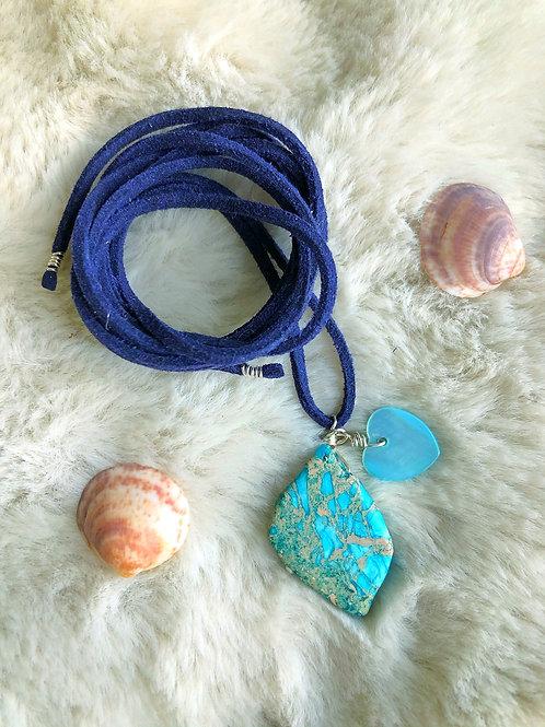 Jasper Beach Shell Vegan Suede Necklace Wrap