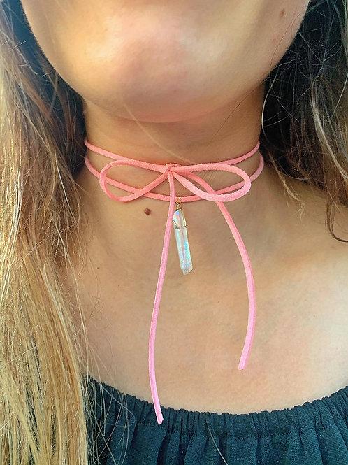 Quartz & Pink Vegan Suede Necklace Wrap