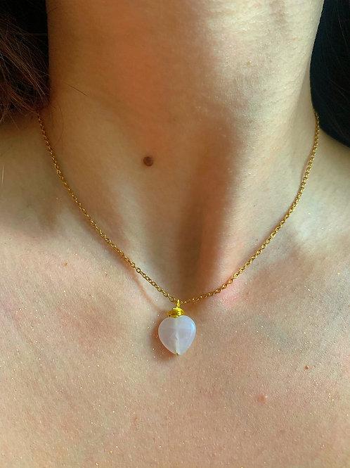 Rose Quartz Dainty Heart Necklace