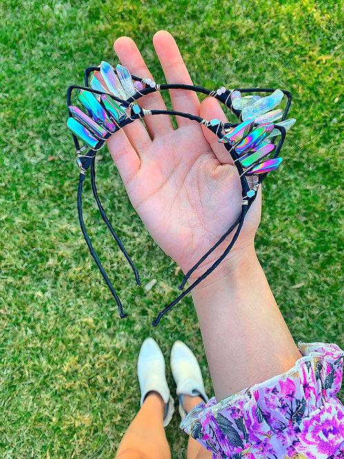 Crystal Kitten Ears Double Headband Bundle