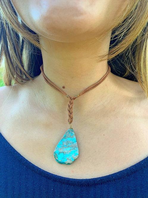 Carribean Blue Jasper Braided Necklace