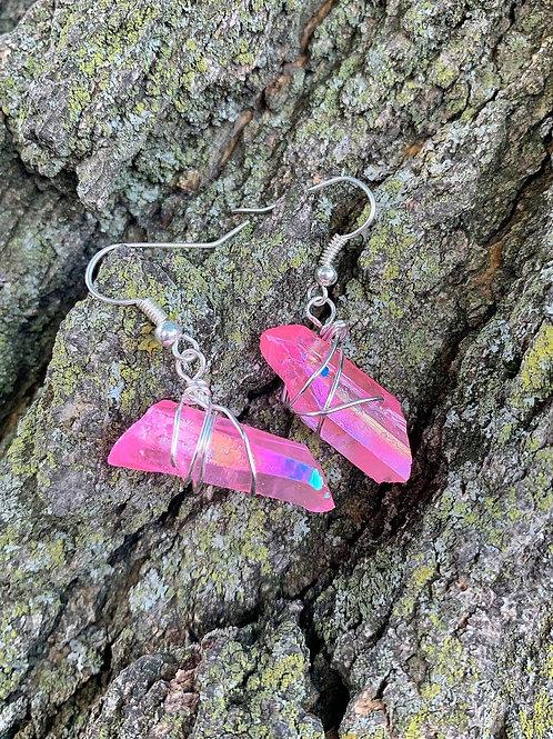 Pink Quartz Wrapped Earrings