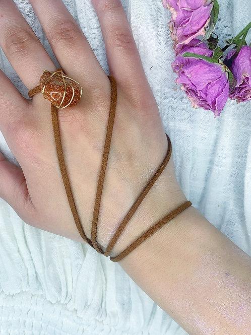 Goldstone vegan suede necklace wrap