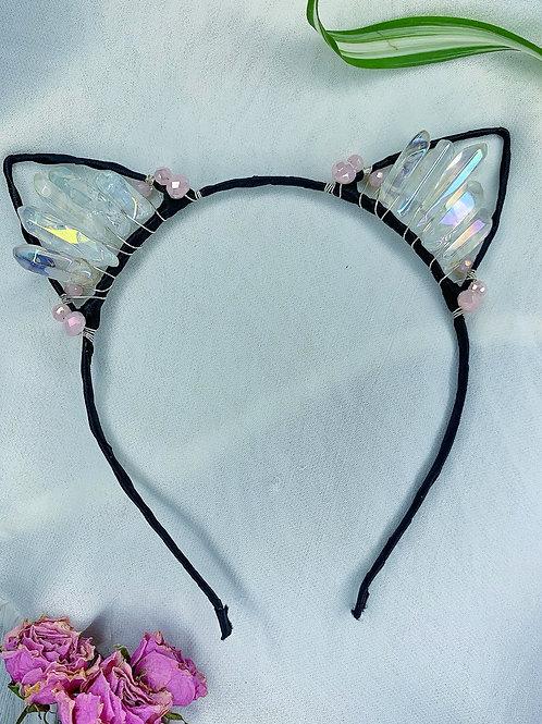 Angel Kitten Crystal Headband - Aura Quartz